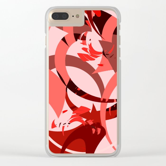 Abstract Curls - Burgundy, Coral, Pink Clear iPhone Case