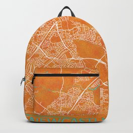 Newcastle upon Tyne, England, Gold, Blue, City, Map Backpack