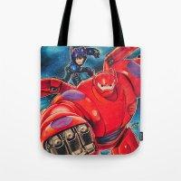 big hero 6 Tote Bags featuring Big Hero 6 by Salma Emara