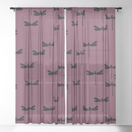 Dragonfly Insect Maroon print design patern Sheer Curtain