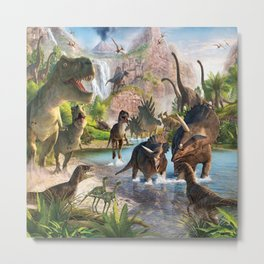 Jurassic dinosaurs in the river Metal Print