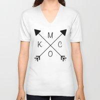 kansas city V-neck T-shirts featuring Kansas City x KCMO by KC Design Co.