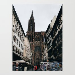 Street Market by the Strasbourg Cathedral Poster