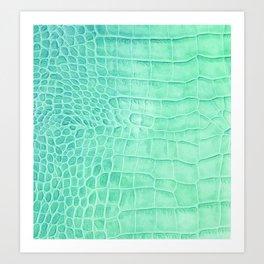 Croco leather effect - green water Art Print
