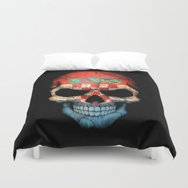 Dark Skull with Flag of Croatia Duvet Cover