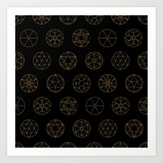 Geocircles (Golden) Art Print