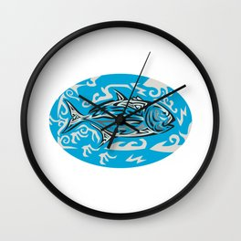 Giant Trevally Side Oval Tribal Art Wall Clock