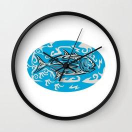 Giant Trevally Side Oval Tribal Art Wall Clock