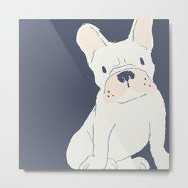 Cute French Bulldog (White) Metal Print