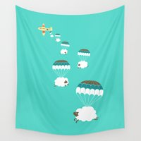 ilovedoodle Wall Tapestries featuring Sheepy clouds by I Love Doodle