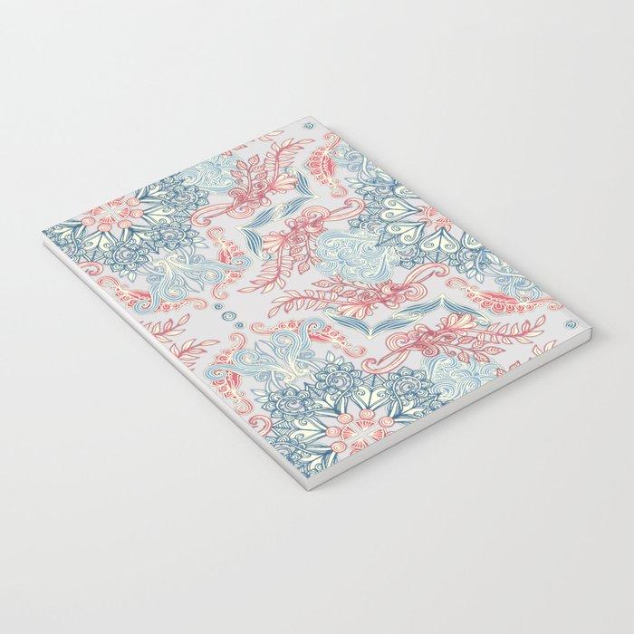 Vintage Fancy - a Pattern in Pale Blue, Navy & Deep Rose Notebook