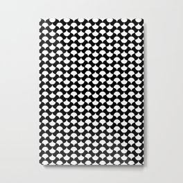 Black White Petals Pattern Metal Print