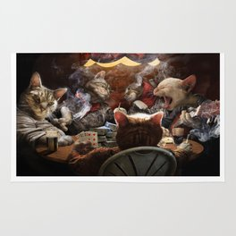 Cats play poker Rug