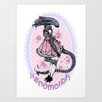 xenomorph Art Prints featuring Lolified Xenomorph by Mindful Merry