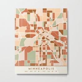 MINNEAPOLIS MINNESOTA CITY MAP EARTH TONES Metal Print