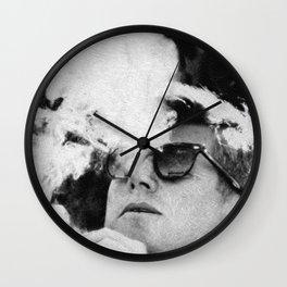 John F Kennedy Cigar and Sunglasses Black And White Wall Clock