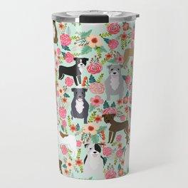 Pitbull florals mixed coats pibble gifts dog breed must have pitbulls florals Travel Mug