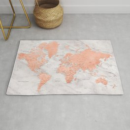 """Rose gold and marble world map with cities, """"Janine"""" Rug"""