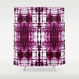 Black Cherry Plaid Shibori Shower Curtain