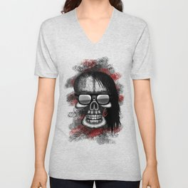 Skrill style ErrorFace Skull Unisex V-Neck