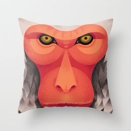 Japanese Monkey Throw Pillow