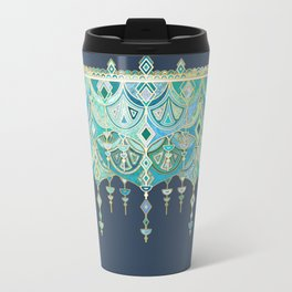 Art Deco Double Drop in Blues and Greens Metal Travel Mug