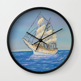 White Sailing Ship Wall Clock