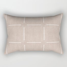 Block Print Simple Squares in Tan Rectangular Pillow