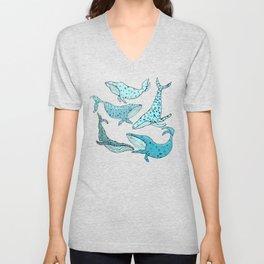 Blue Whales Unisex V-Neck