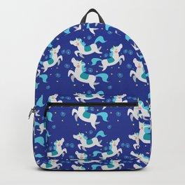 dancing blue unicorns pattern Backpack
