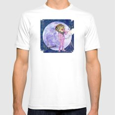 Moonlight Lion Strings  White Mens Fitted Tee MEDIUM