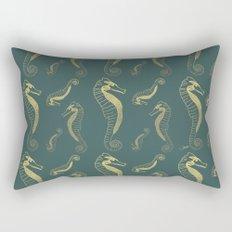 Happy Hippocampus Teal Rectangular Pillow