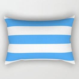 Brilliant azure - solid color - white stripes pattern Rectangular Pillow