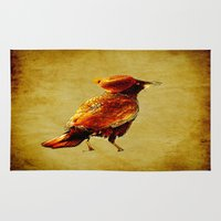 crow Area & Throw Rugs featuring Crow by Ganech joe
