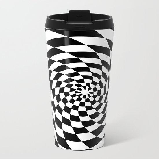 Optical Illusion Op Art Black and White Retro Style Metal Travel Mug