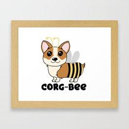 CorgBEE Cute Corgi Bee design for dog lovers - summer, spring, yellow, animal lover Framed Art Print