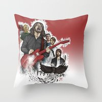 foo fighters Throw Pillows featuring Foo Fighting by Jaimie