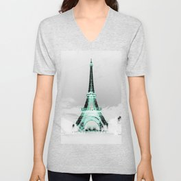 pariS Black & White + Mint Unisex V-Neck
