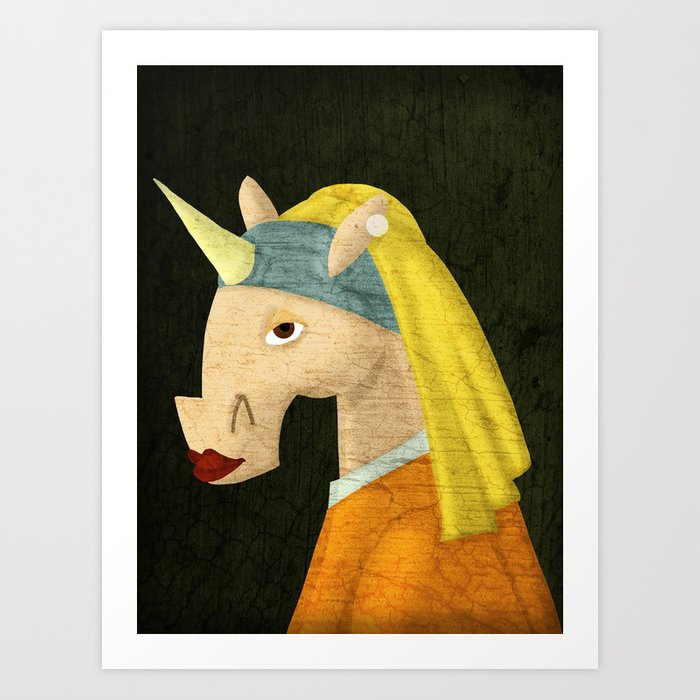 The Unicorn with the Pearl Earring Art Print