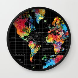 World Map Black - 1 Wall Clock