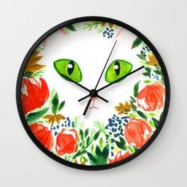 Cat Flor / Art Print / Jungle Cat Wall Clock