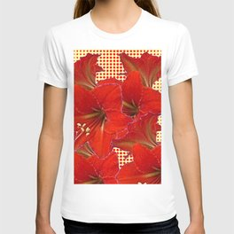 CLUSTER RED AMARYLLIS FLOWERS YELLOW-RED ART T-shirt