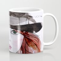 emma stone Mugs featuring Emma Stone by Vicky Ink.