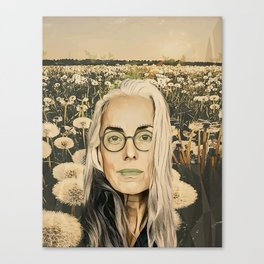 Old lady in the field Canvas Print