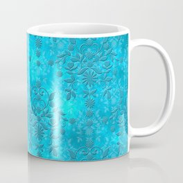 Bright Blue Floral Distressed Damask Pattern Coffee Mug
