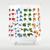 robots Shower Curtains featuring Robots by Artysmedia