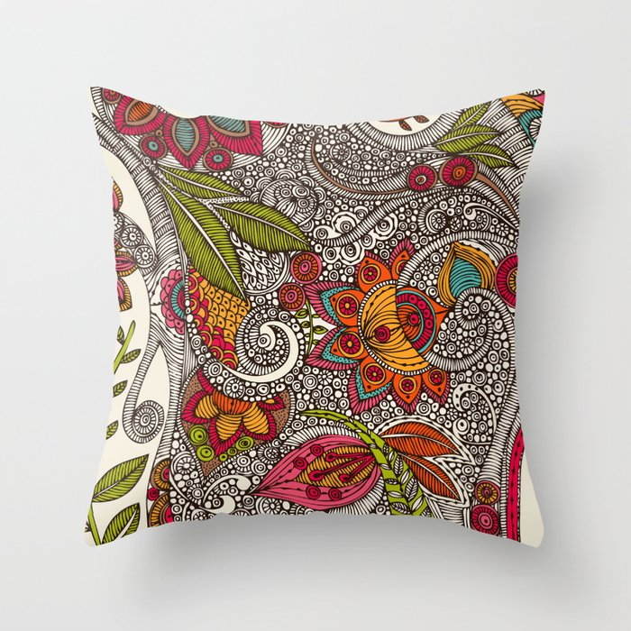 Random Flowers Throw Pillow