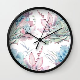 Pretty Pastel Succulents Garden 1 Wall Clock