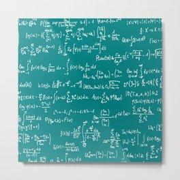 Math Equations // Teal Metal Print
