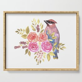cedar waxwing with pink and orange roses and leaves Serving Tray